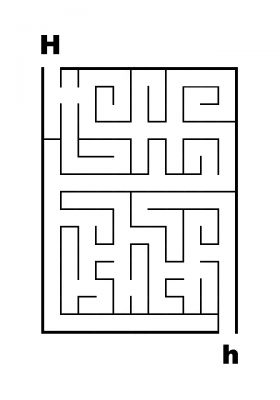 Easy Letter Mazes - H to h Maze - James Mazes