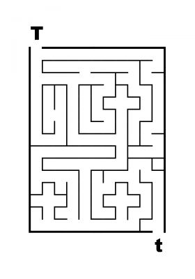Easy Letter Mazes - T to t Maze - James Mazes
